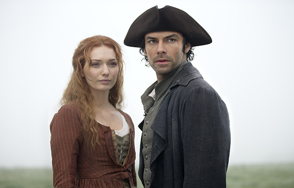 Poldark (Aiden Turner) with Demelza (Eleanor Tomlinson) stand together