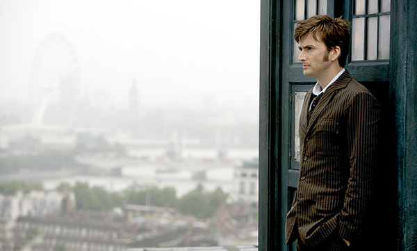 The Doctor (David Tennant) standing outside the Tardis on London roof