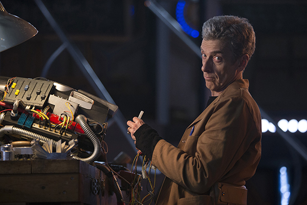 Doctor Who (Peter Capaldi) in the Caretaker episode, building an apparatus in the Tardis
