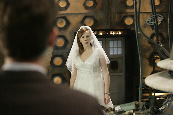 Donna Noble (Catherine Tate) dressed in wedding dress in the Tardis