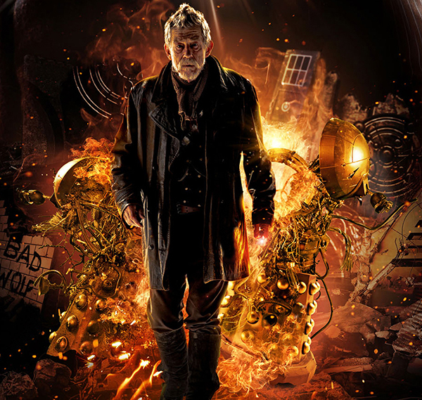 The Doctor (John Hurt) walks away from explosion