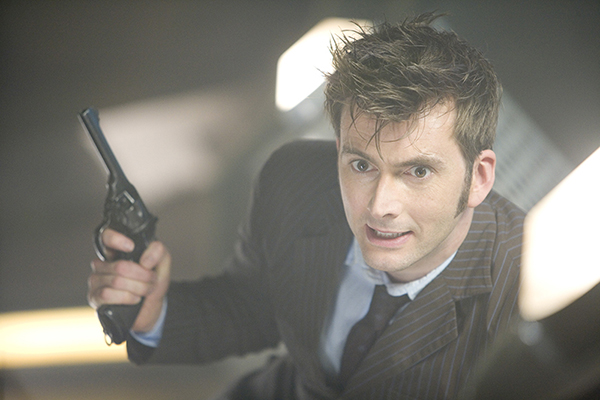 The Doctor (David Tennant) with pistol