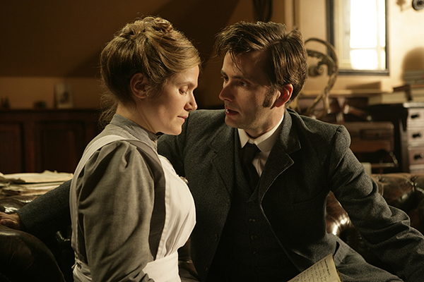 film still of Joan Redfern (Jessica Hynes), The Doctor (David Tennant)