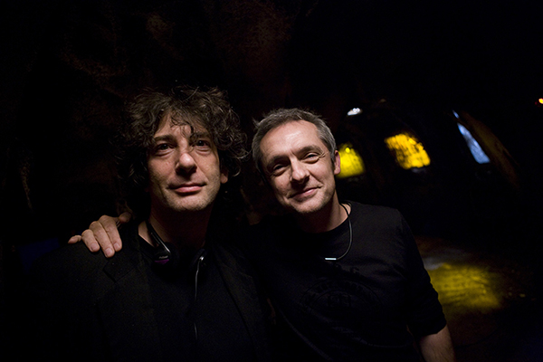 unit still behind scenes of writer Neil Gaiman and director Richard Clark on set of Dr Who