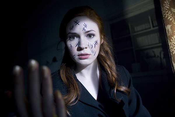 unit still photo of Amy with writing on her face from episode Day of the Moon