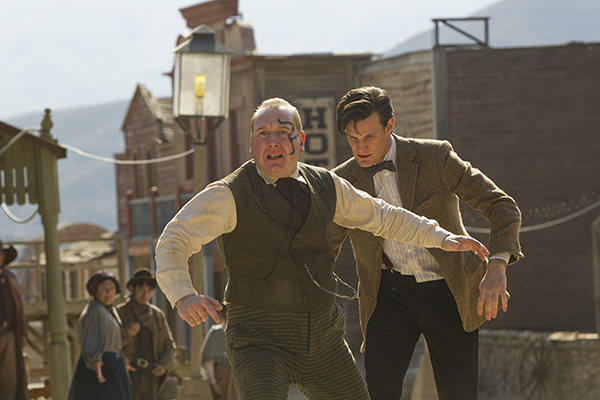 film still of The Doctor chasing Kahler-Jex through a western town from Doctor Who episode A Town Called Mercy