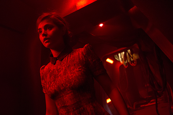 unit still photo of Jenna Coleman as Clara in Tardis corridor from the Doctor Who episode Journey to the Center of the Tardis