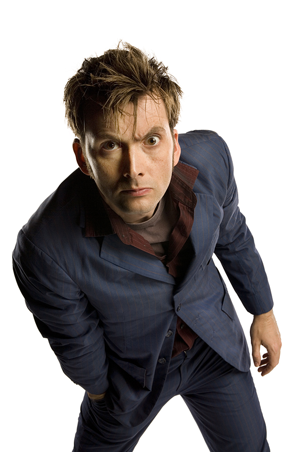 photograph of David Tennant as The Doctor in his blue suit