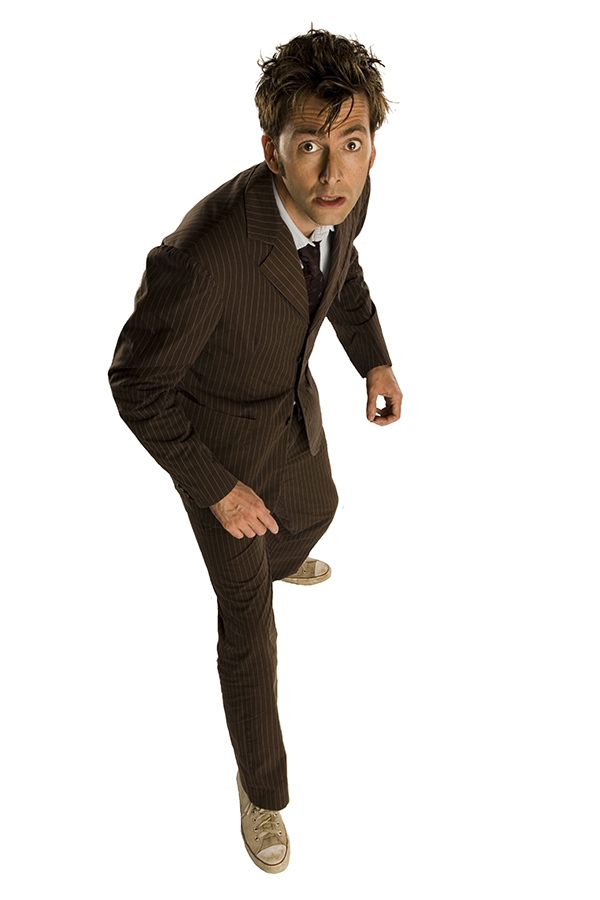 specials photo of David Tennant as The Doctor in brown suit