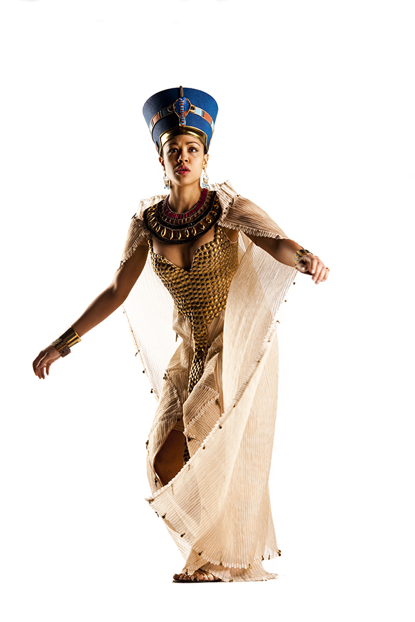 Riann Steele as Queen Nefertiti photographed on white background for Doctor Who episode Dinosaurs on a Spaceship