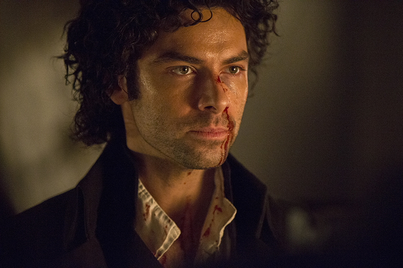 Poldark (Aiden Turner) blood on his face
